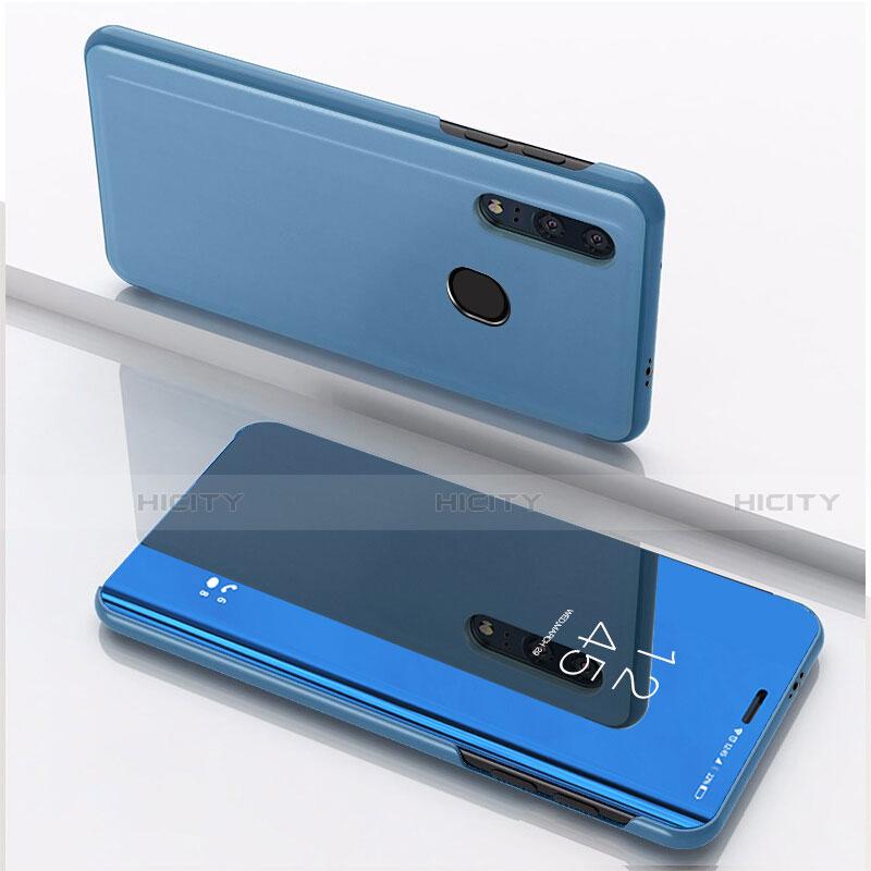 Coque Portefeuille Livre Cuir Miroir Housse Etui Clapet pour Huawei Honor 20 Lite Bleu Plus