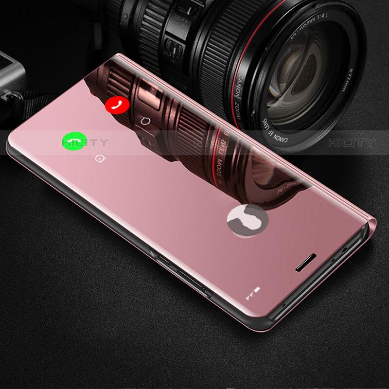 Coque Portefeuille Livre Cuir Miroir Housse Etui Clapet pour Samsung Galaxy Note 10 Plus 5G Or Rose Plus