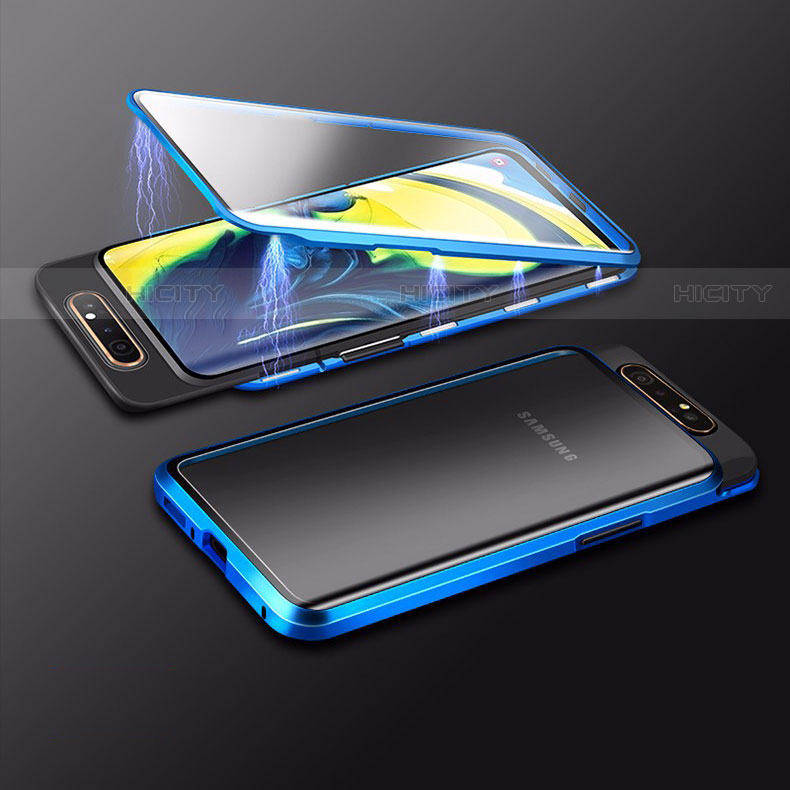 Coque Rebord Bumper Luxe Aluminum Metal Miroir 360 Degres Housse Etui Aimant M01 pour Samsung Galaxy A80 Bleu Plus