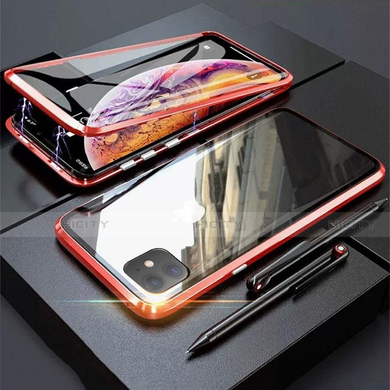 Coque Rebord Bumper Luxe Aluminum Metal Miroir 360 Degres Housse Etui Aimant M03 pour Apple iPhone 11 Rouge Plus