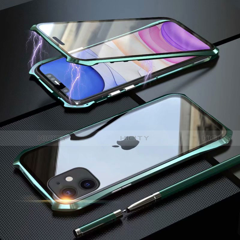 Coque Rebord Bumper Luxe Aluminum Metal Miroir 360 Degres Housse Etui Aimant M06 pour Apple iPhone 11 Vert Plus