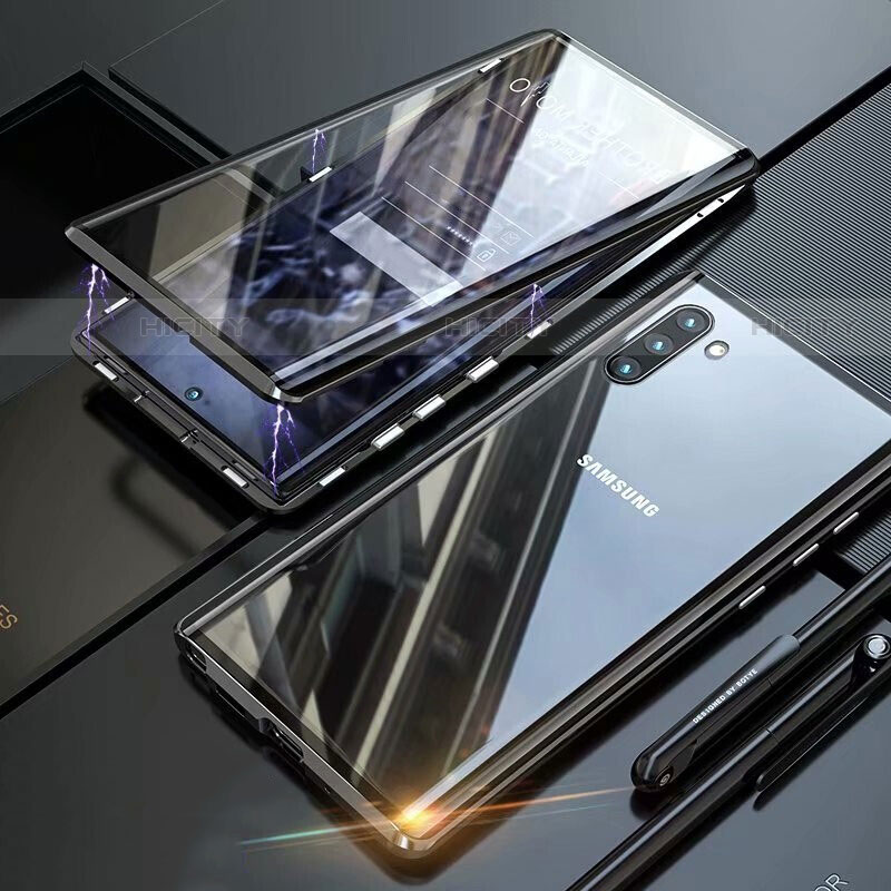 Coque Rebord Bumper Luxe Aluminum Metal Miroir 360 Degres Housse Etui Aimant M07 pour Samsung Galaxy Note 10 5G Noir Plus