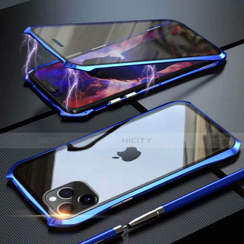 Coque Rebord Bumper Luxe Aluminum Metal Miroir 360 Degres Housse Etui Aimant M10 pour Apple iPhone 11 Pro Max Plus