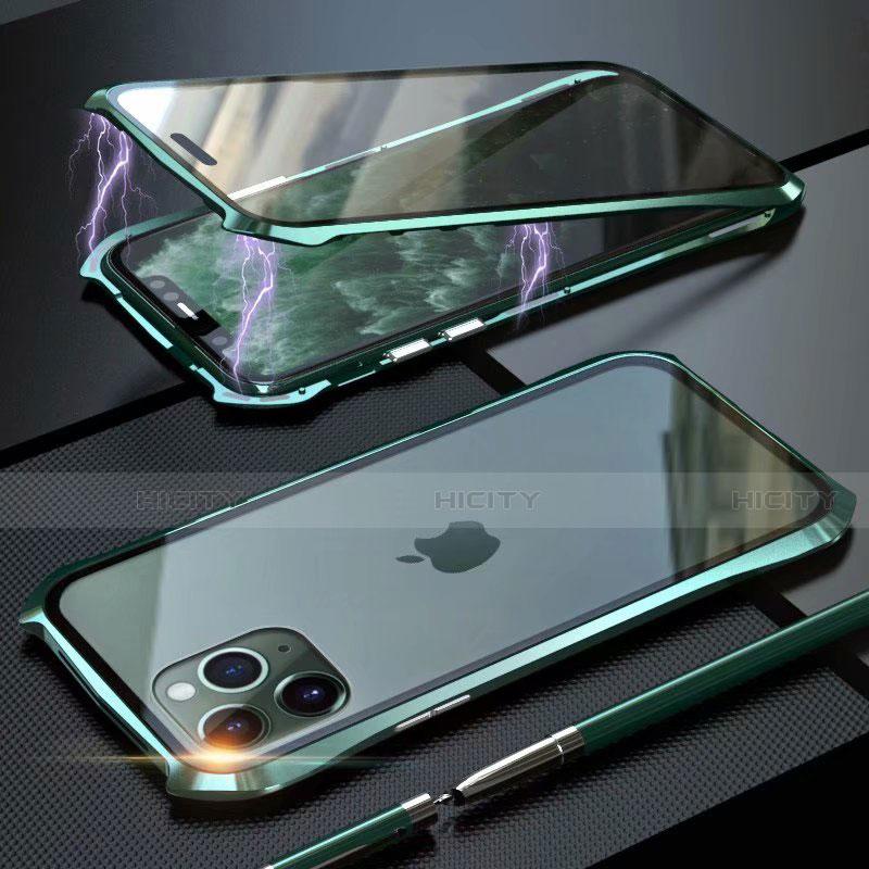 Coque Rebord Bumper Luxe Aluminum Metal Miroir 360 Degres Housse Etui Aimant M10 pour Apple iPhone 11 Pro Max Vert Plus