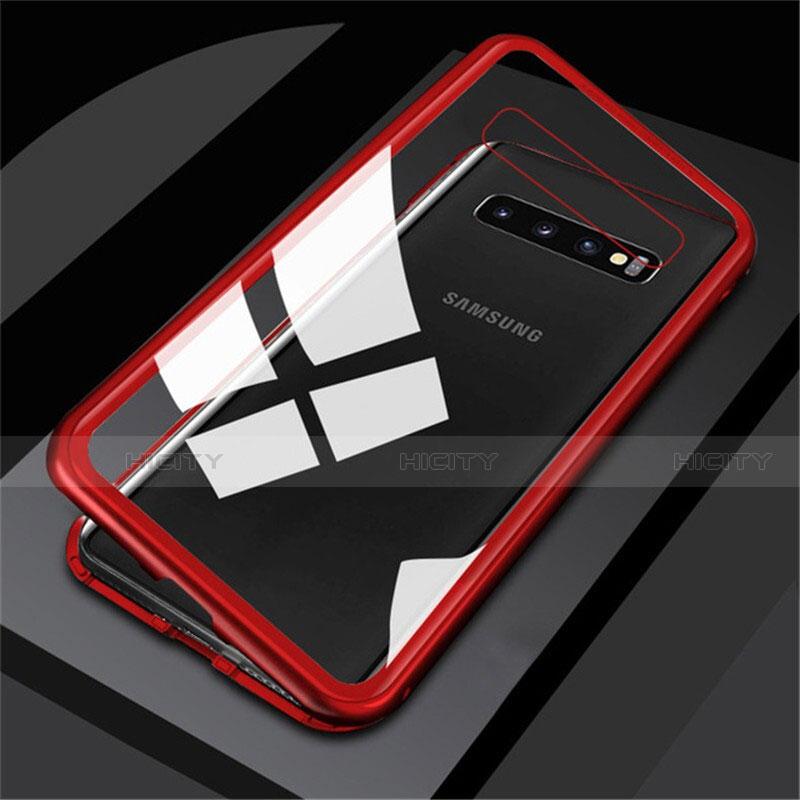 Coque Rebord Bumper Luxe Aluminum Metal Miroir 360 Degres Housse Etui M01 pour Samsung Galaxy S10 Rouge Plus