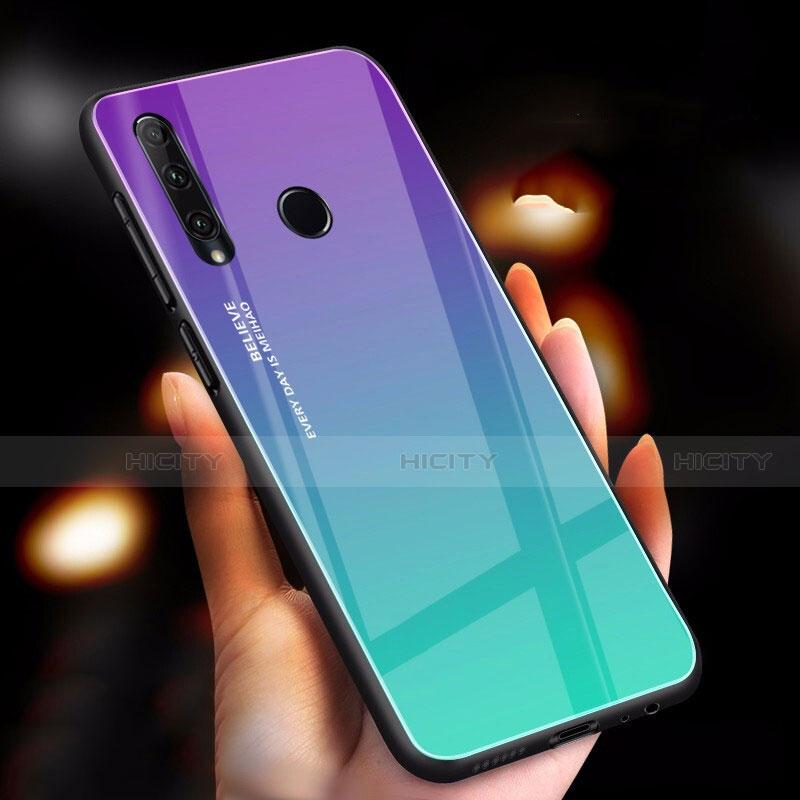 Coque Rebord Contour Silicone et Vitre Miroir Housse Etui Degrade Arc en Ciel pour Huawei Honor 20 Lite Cyan Plus