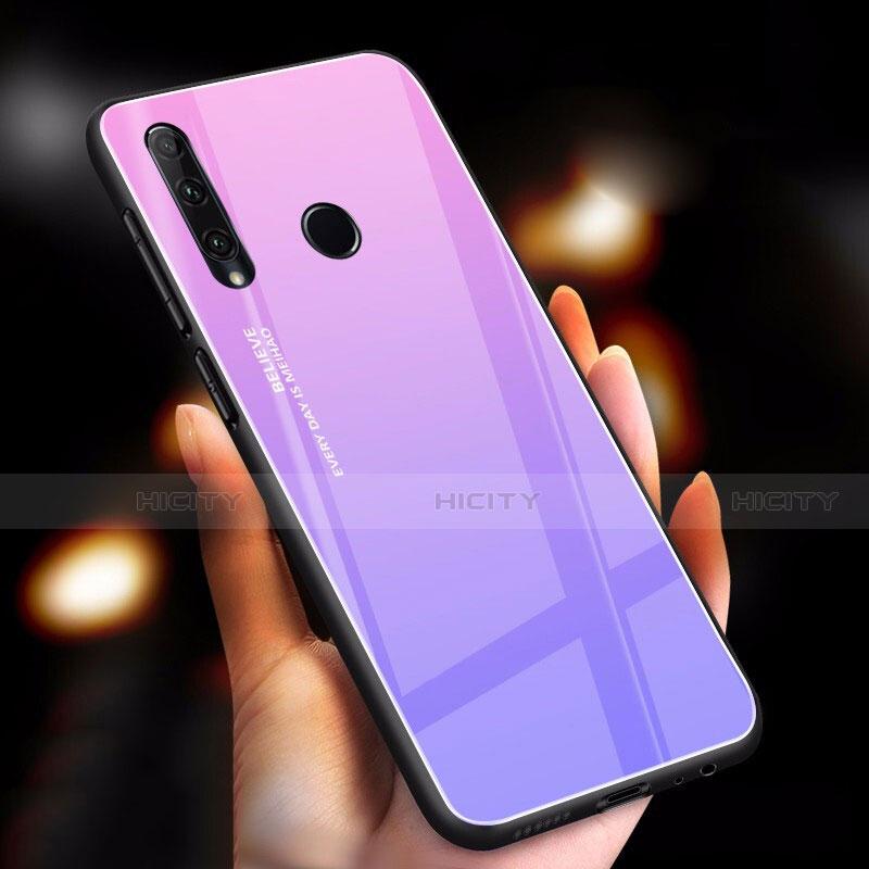 Coque Rebord Contour Silicone et Vitre Miroir Housse Etui Degrade Arc en Ciel pour Huawei Honor 20 Lite Violet Plus