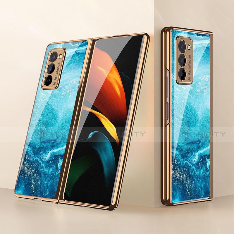 Coque Rebord Contour Silicone et Vitre Miroir Housse Etui pour Samsung Galaxy Z Fold2 5G Bleu Ciel Plus
