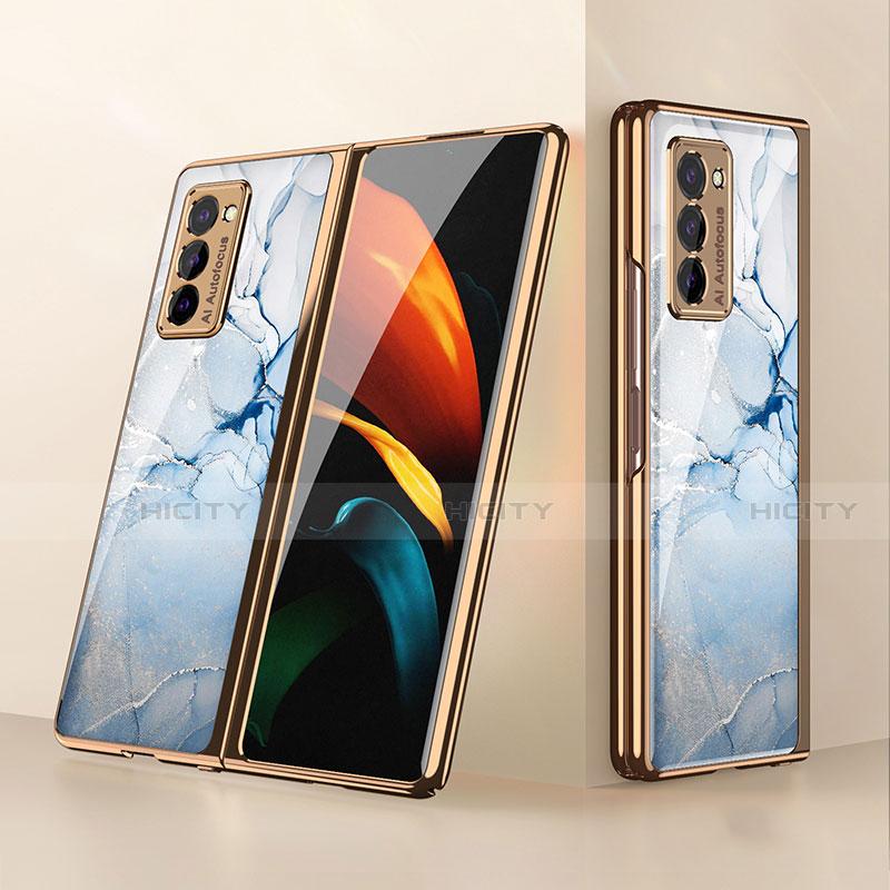 Coque Rebord Contour Silicone et Vitre Miroir Housse Etui pour Samsung Galaxy Z Fold2 5G Bleu Clair Plus