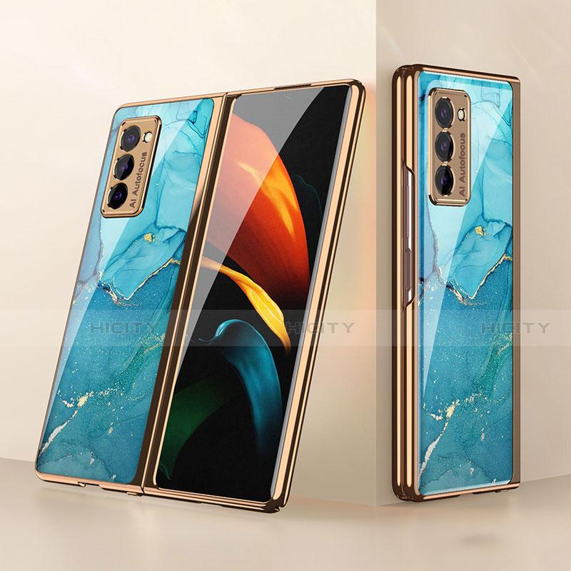 Coque Rebord Contour Silicone et Vitre Miroir Housse Etui pour Samsung Galaxy Z Fold2 5G Cyan Plus