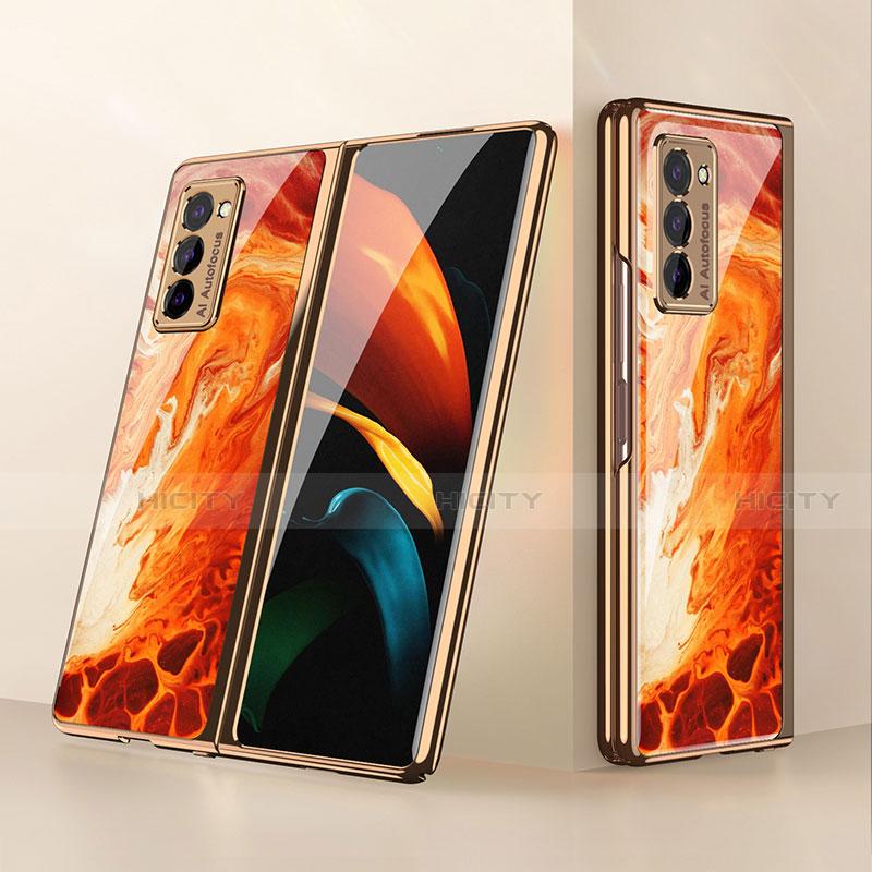 Coque Rebord Contour Silicone et Vitre Miroir Housse Etui pour Samsung Galaxy Z Fold2 5G Orange Plus