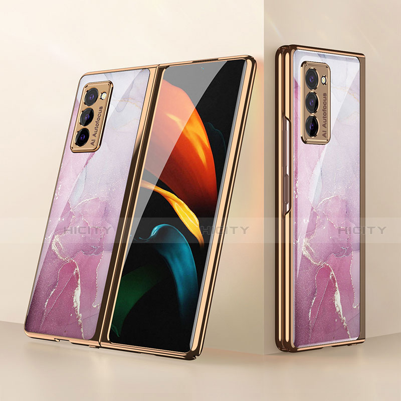 Coque Rebord Contour Silicone et Vitre Miroir Housse Etui pour Samsung Galaxy Z Fold2 5G Rose Plus