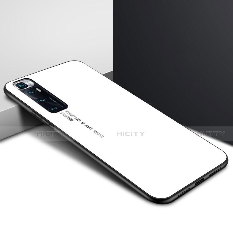 Coque Rebord Contour Silicone et Vitre Miroir Housse Etui pour Xiaomi Mi 10 Ultra Blanc Plus