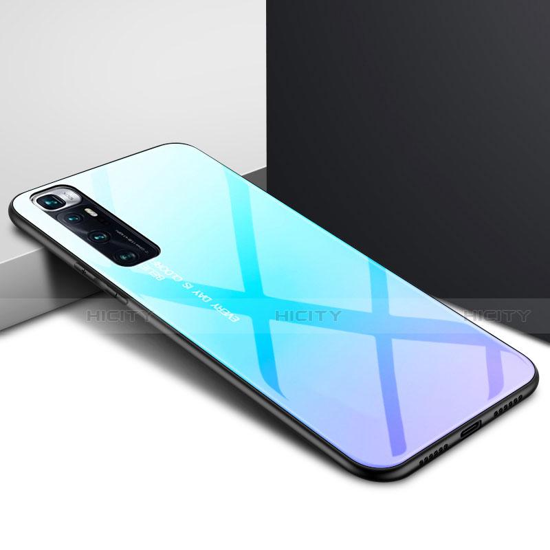 Coque Rebord Contour Silicone et Vitre Miroir Housse Etui pour Xiaomi Mi 10 Ultra Bleu Ciel Plus