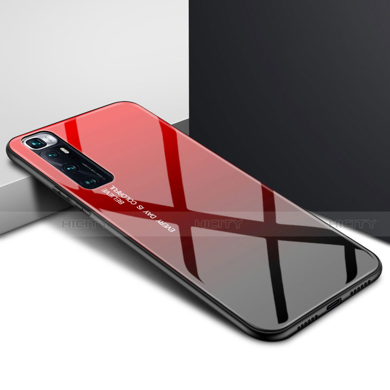 Coque Rebord Contour Silicone et Vitre Miroir Housse Etui pour Xiaomi Mi 10 Ultra Rouge Plus