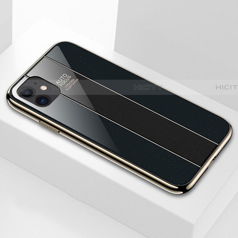 Coque Rebord Contour Silicone et Vitre Miroir Housse Etui T03 pour Apple iPhone 11 Noir Plus