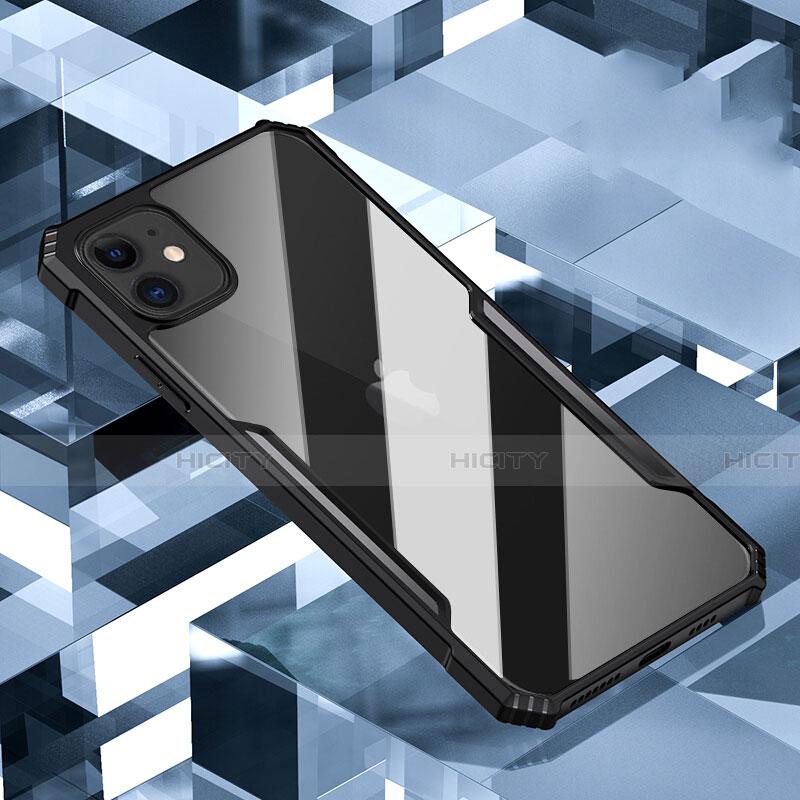 Coque Rebord Contour Silicone et Vitre Transparente Miroir Housse Etui H01 pour Apple iPhone 11 Noir Plus