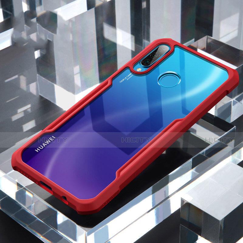 Coque Rebord Contour Silicone et Vitre Transparente Miroir Housse Etui H01 pour Huawei P30 Lite Rouge Plus