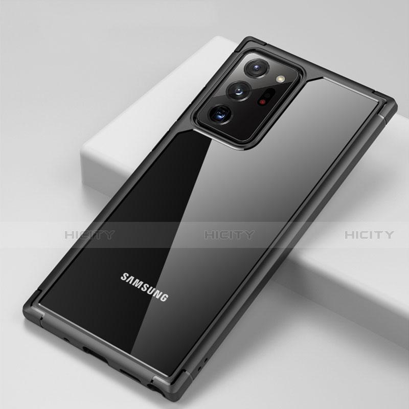 Coque Rebord Contour Silicone et Vitre Transparente Miroir Housse Etui H02 pour Samsung Galaxy Note 20 Ultra 5G Noir Plus