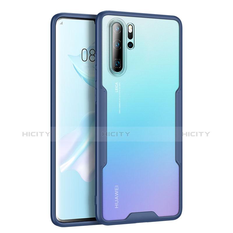 Coque Rebord Contour Silicone et Vitre Transparente Miroir Housse Etui M03 pour Huawei P30 Pro Bleu Plus