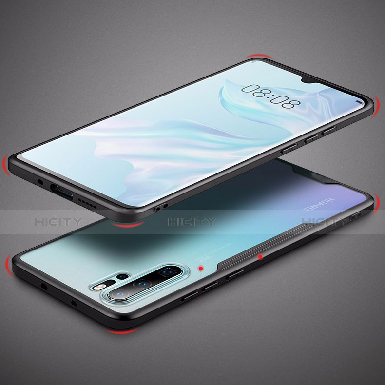Coque Rebord Contour Silicone et Vitre Transparente Miroir Housse Etui M03 pour Huawei P30 Pro Plus