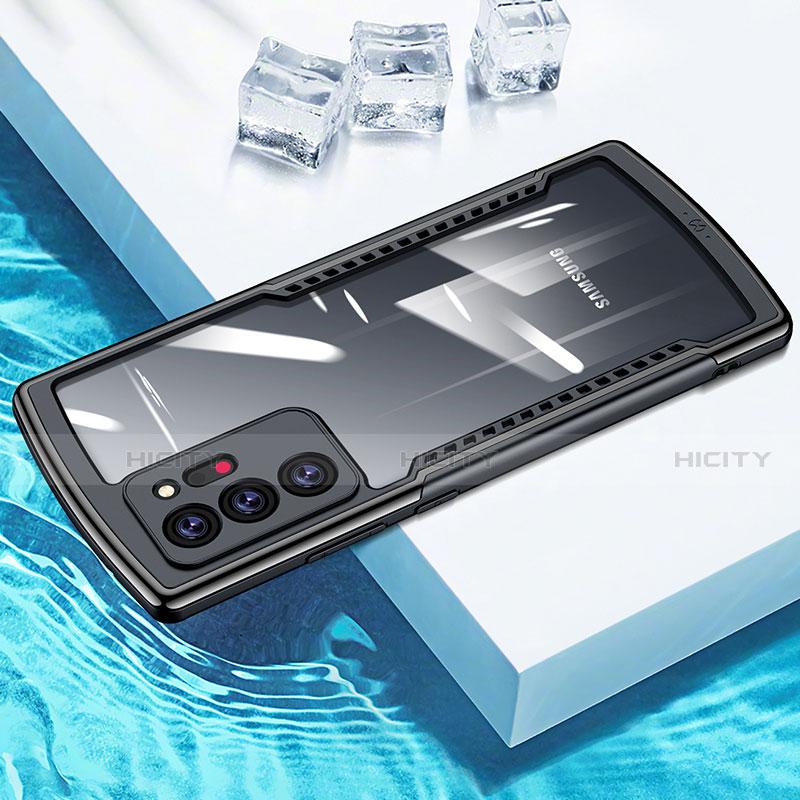 Coque Rebord Contour Silicone et Vitre Transparente Miroir Housse Etui M04 pour Samsung Galaxy Note 20 Ultra 5G Noir Plus