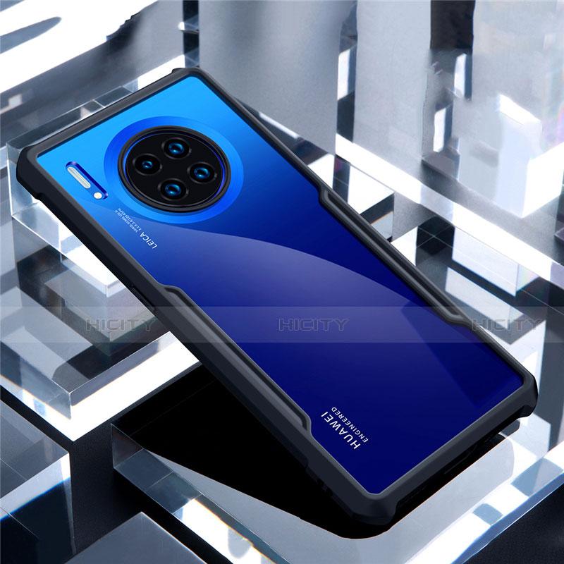 Coque Rebord Contour Silicone et Vitre Transparente Miroir Housse Etui pour Huawei Mate 30 Noir Plus