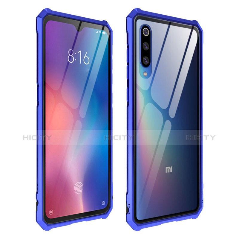Coque Rebord Contour Silicone et Vitre Transparente Miroir Housse Etui pour Xiaomi Mi 9 Bleu Plus