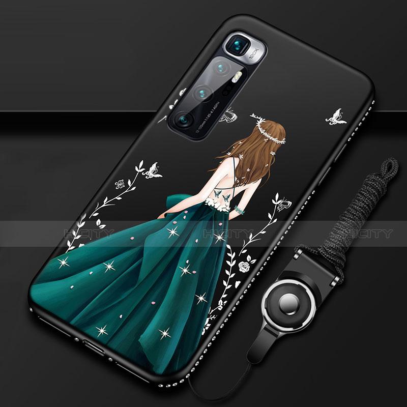 Coque Silicone Dos de Fille Souple Couleur Unie Etui Housse pour Xiaomi Mi 10 Ultra Noir Plus