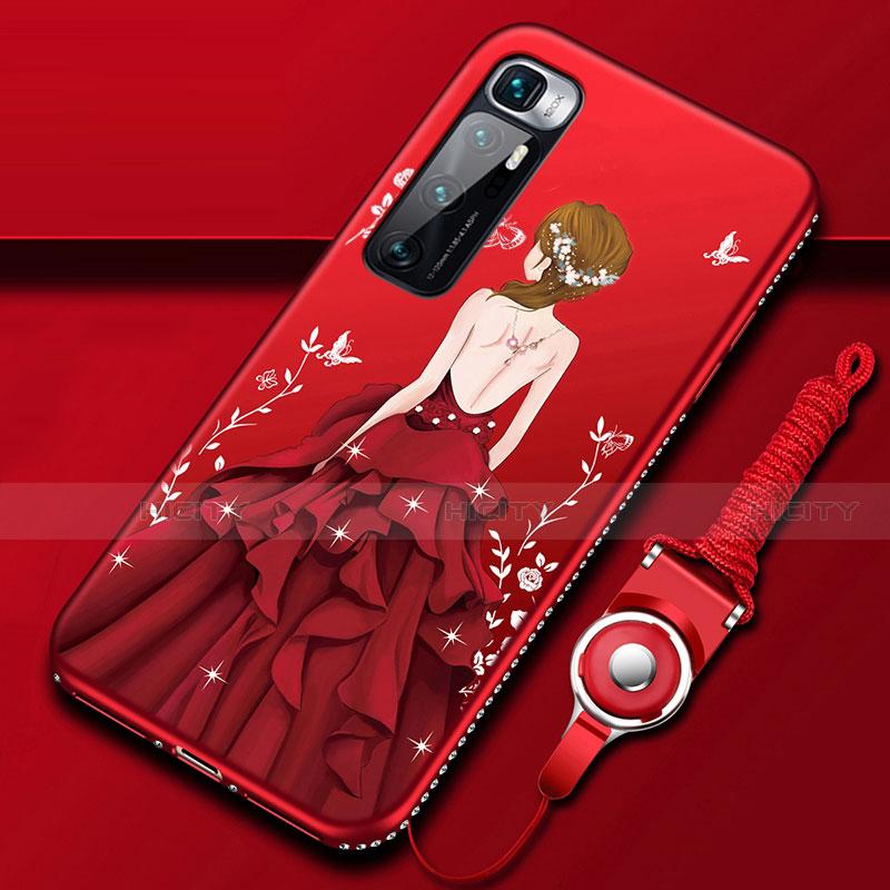 Coque Silicone Dos de Fille Souple Couleur Unie Etui Housse pour Xiaomi Mi 10 Ultra Rouge Plus