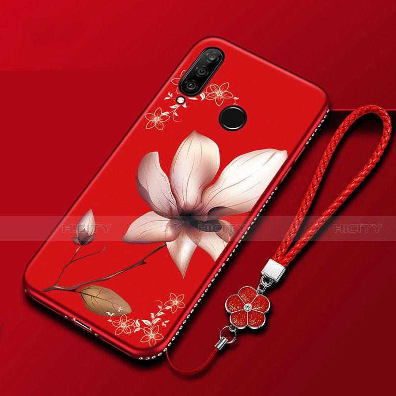 Coque Silicone Fleurs Souple Couleur Unie Etui Housse pour Huawei Honor 20 Lite Rouge Plus