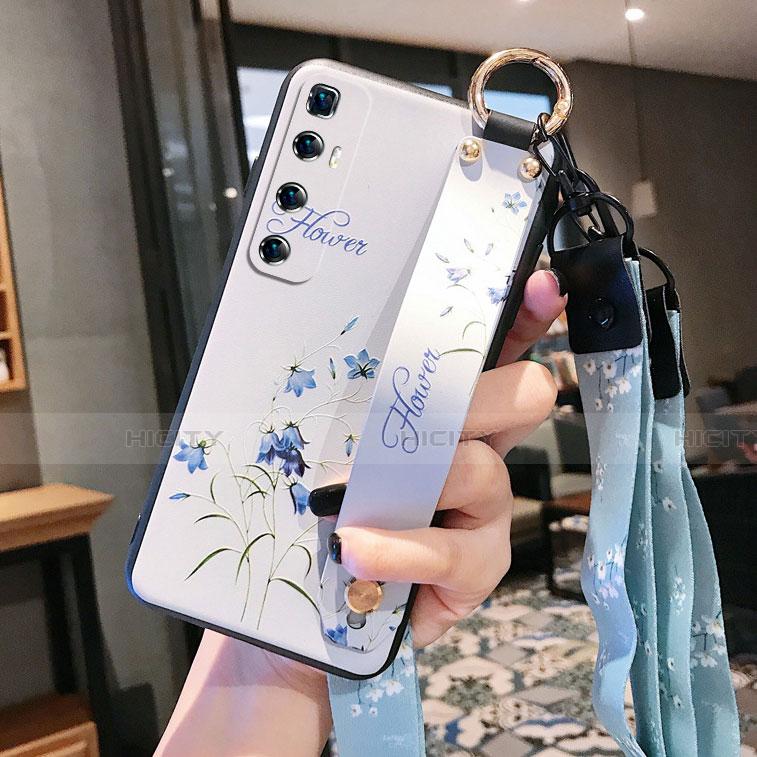 Coque Silicone Fleurs Souple Couleur Unie Etui Housse pour Xiaomi Mi 10 Ultra Blanc Plus