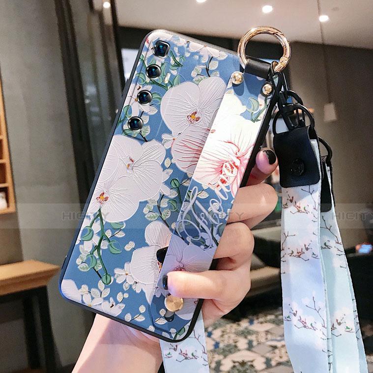 Coque Silicone Fleurs Souple Couleur Unie Etui Housse pour Xiaomi Mi 10 Ultra Bleu Plus