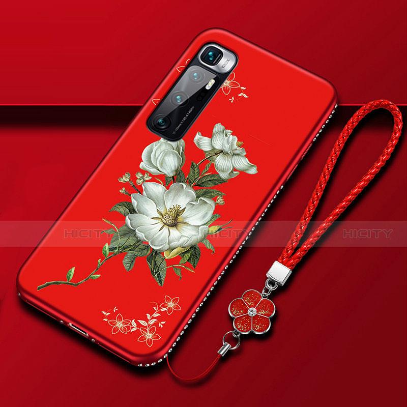 Coque Silicone Fleurs Souple Couleur Unie Etui Housse S03 pour Xiaomi Mi 10 Ultra Rouge Plus