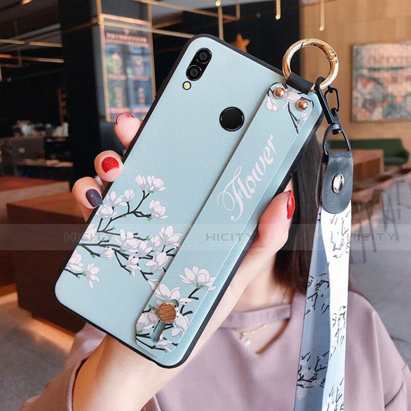Coque Silicone Fleurs Souple Couleur Unie pour Huawei Honor 8X Cyan Plus