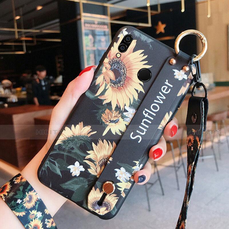 Coque Silicone Fleurs Souple Couleur Unie pour Huawei Honor 8X Noir Plus
