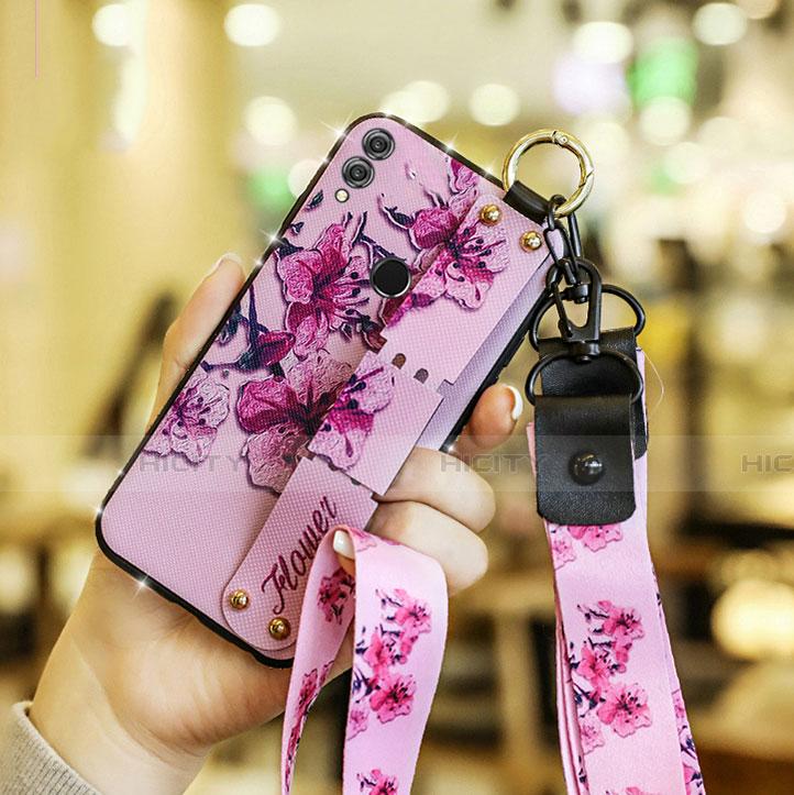 Coque Silicone Fleurs Souple Couleur Unie S01 pour Huawei Honor 8X Rose Plus