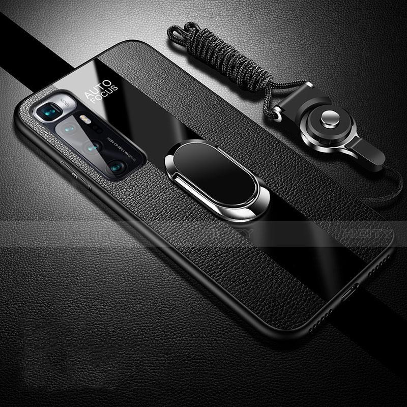 Coque Silicone Gel Motif Cuir Housse Etui avec Support Bague Anneau Aimante Magnetique pour Xiaomi Mi 10 Ultra Noir Plus