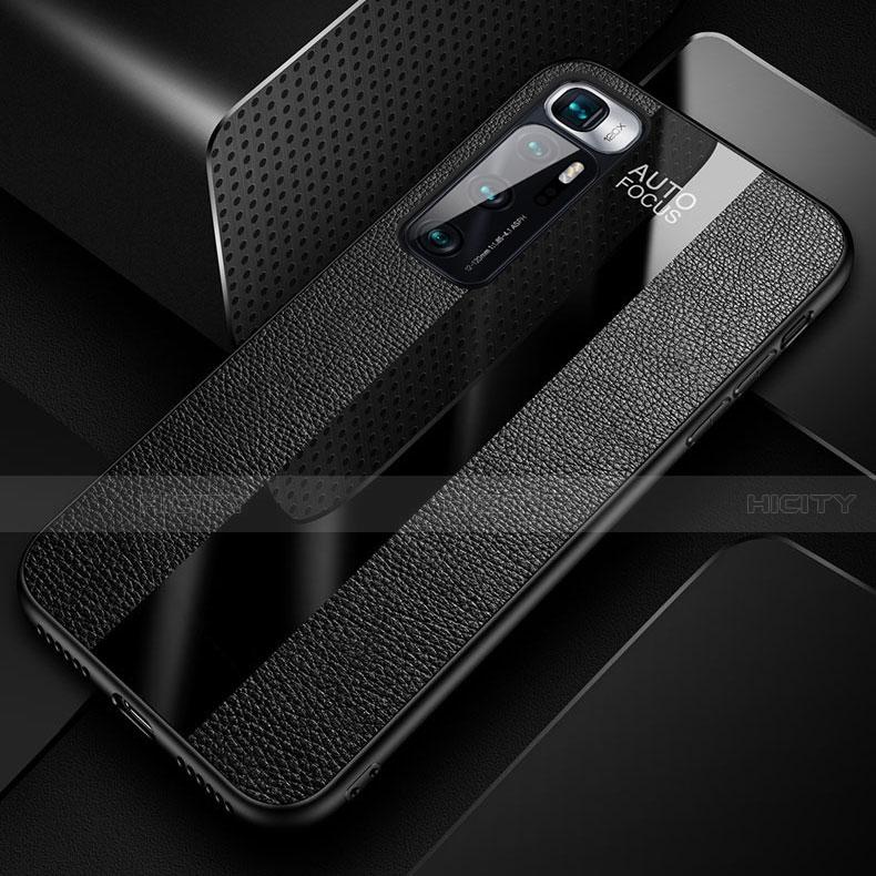 Coque Silicone Gel Motif Cuir Housse Etui avec Support Bague Anneau Aimante Magnetique pour Xiaomi Mi 10 Ultra Plus
