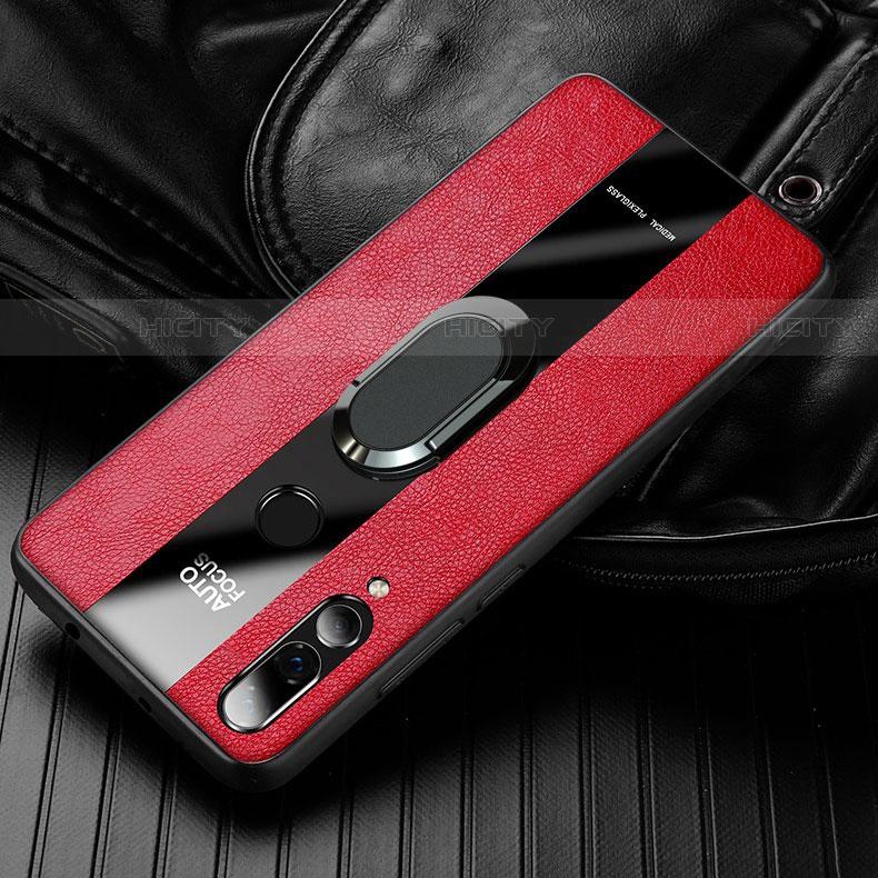 Coque Silicone Gel Motif Cuir Housse Etui pour Huawei Honor 20 Lite Rouge Plus