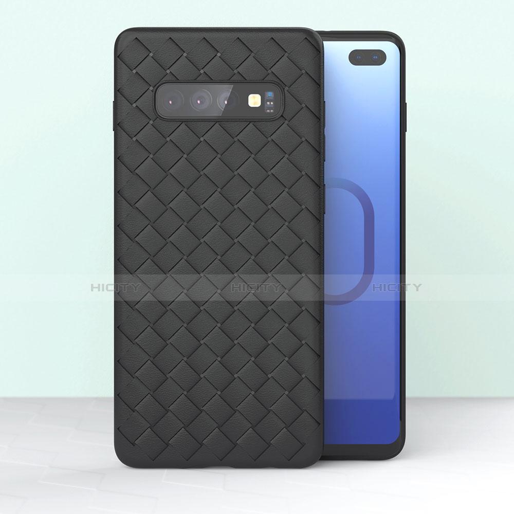 Coque Silicone Gel Motif Cuir Housse Etui pour Samsung Galaxy S10 Plus Plus