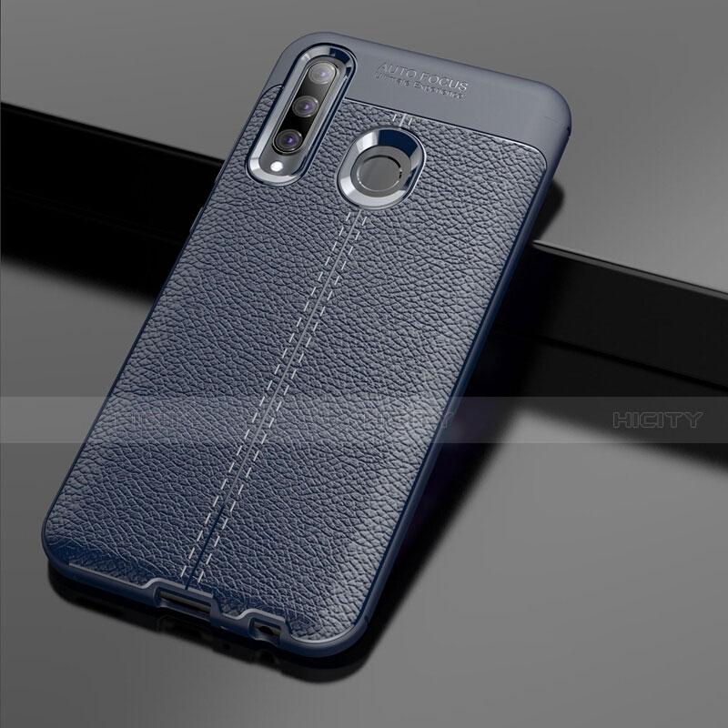 Coque Silicone Gel Motif Cuir Housse Etui S01 pour Huawei Honor 20 Lite Bleu Plus