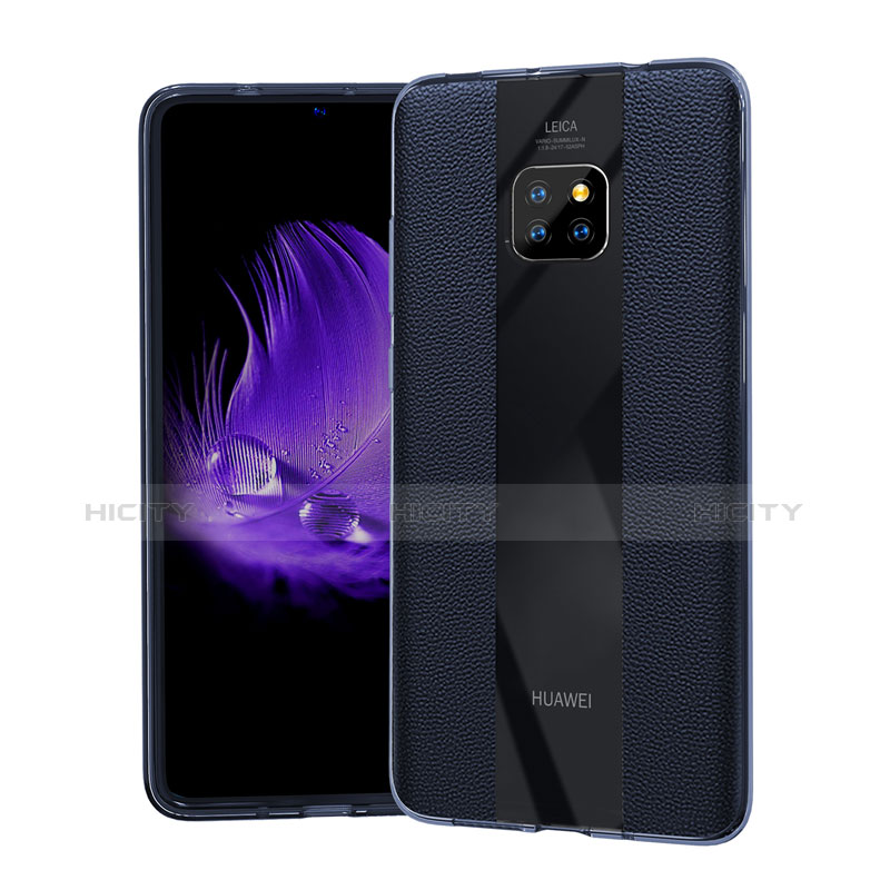 Coque Silicone Gel Motif Cuir Housse Etui S04 pour Huawei Mate 20 Pro Bleu Plus