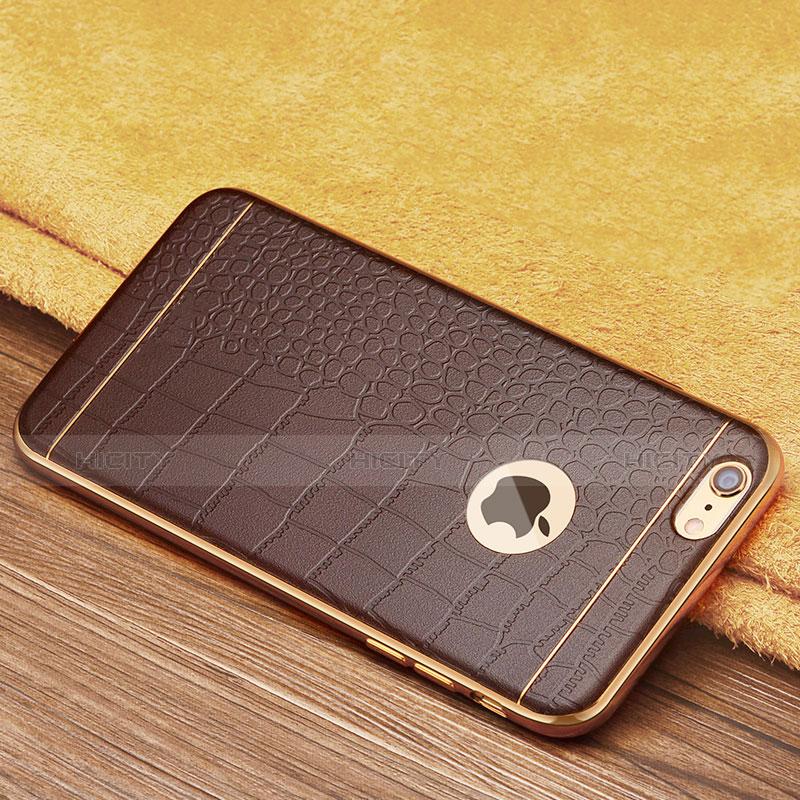coque silicone gel motif cuir pour apple iphone 6s plus marron 13074 plus 3