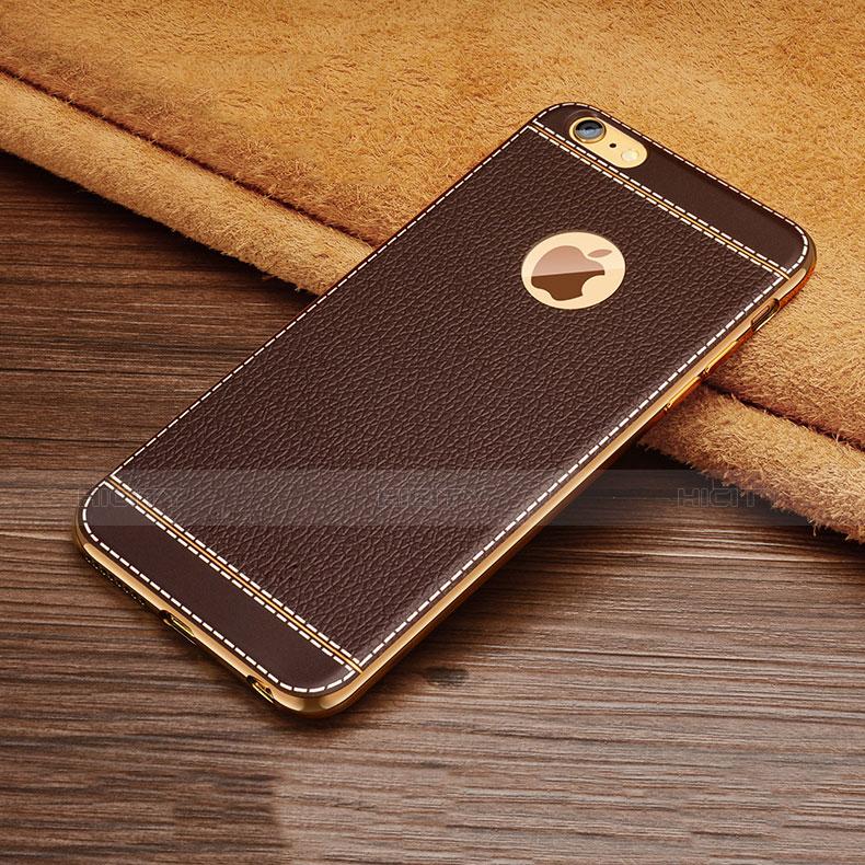 coque silicone gel motif cuir w01 pour apple iphone 6 plus marron 12835 plus 2