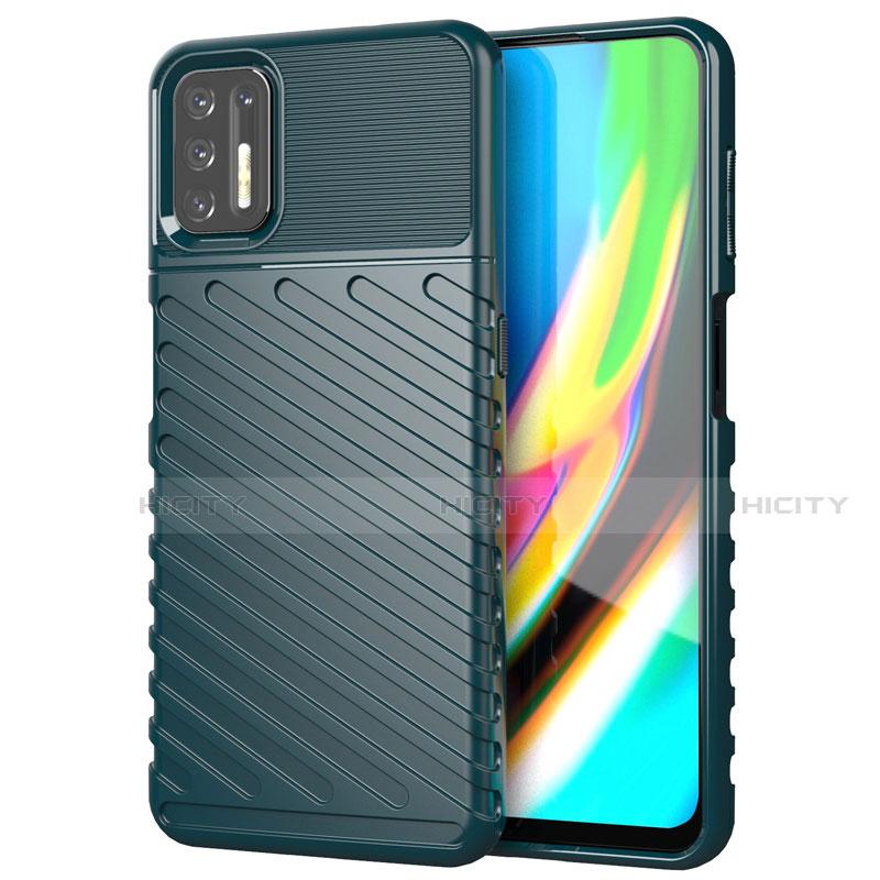 Coque Silicone Housse Etui Gel Line pour Motorola Moto G9 Plus Vert Plus