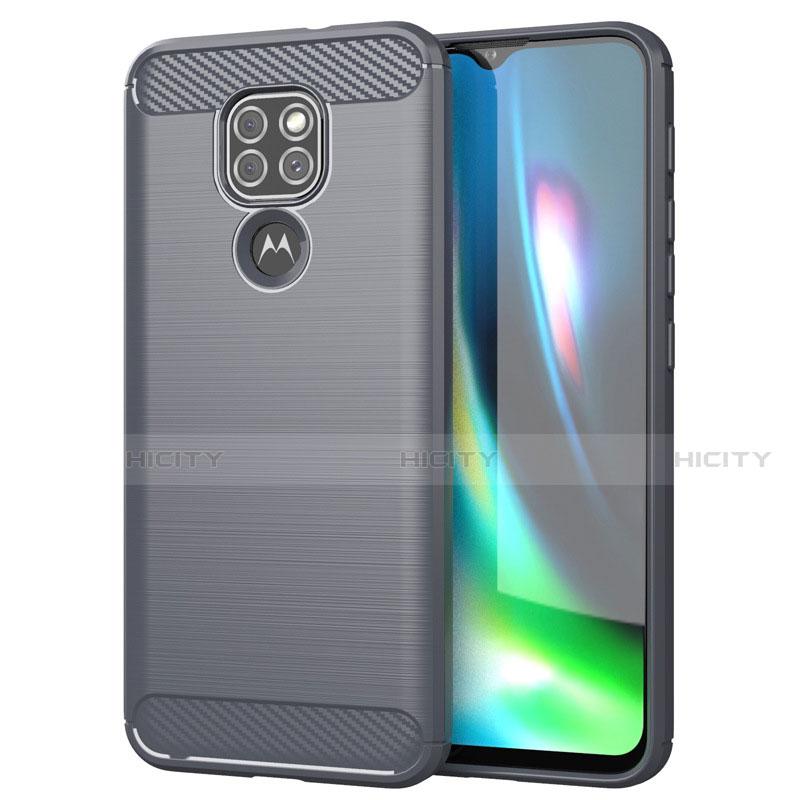 Coque Silicone Housse Etui Gel Line S01 pour Motorola Moto G9 Gris Plus