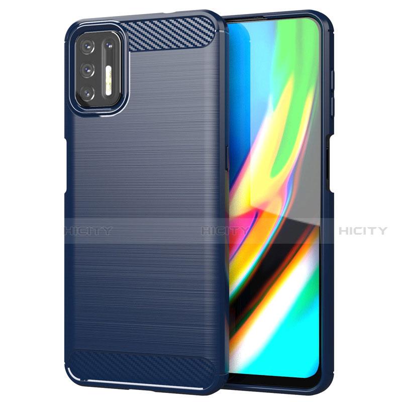 Coque Silicone Housse Etui Gel Line S01 pour Motorola Moto G9 Plus Bleu Plus