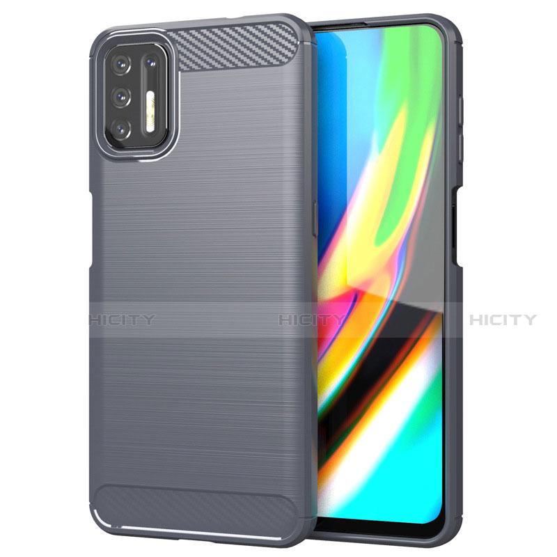 Coque Silicone Housse Etui Gel Line S01 pour Motorola Moto G9 Plus Gris Plus