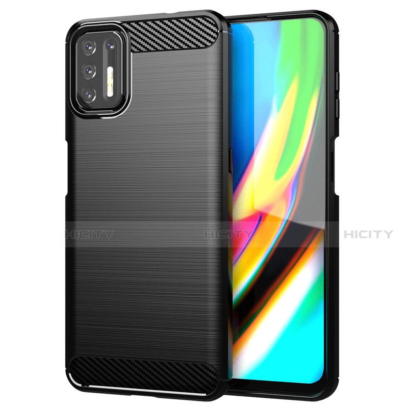 Coque Silicone Housse Etui Gel Line S01 pour Motorola Moto G9 Plus Noir Plus